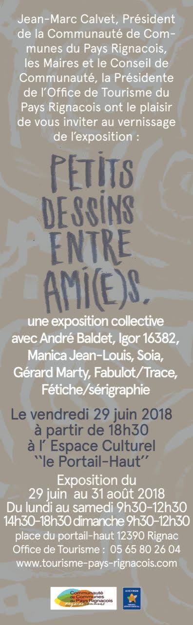 affiche de l'exposition collective avec André Baldet, Igor 16382, Marika jean louis soia gérard marty fabulot trace, fétiche, igor