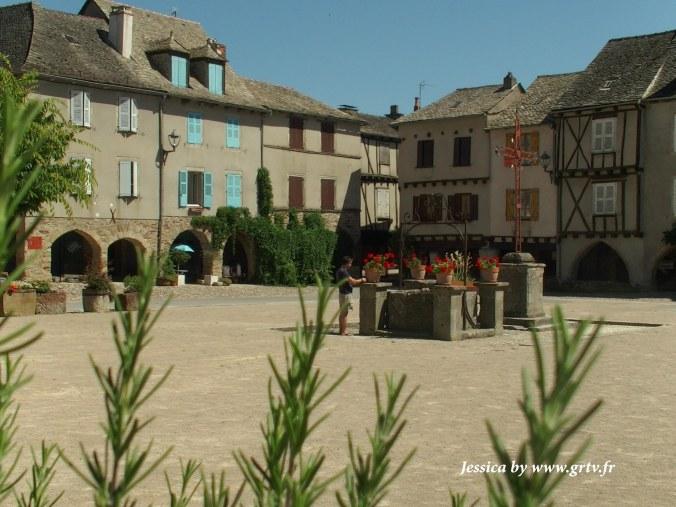 Place aux arcades de Sauveterre-De-Rouergue, photo prise avec des feuilles en ammorce, en direction du puit en pierre où sont posés des pots de géraniums rouge vifs