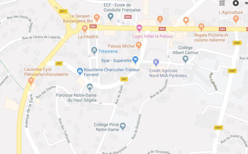 plan d'accès à la maison des associations en arrivant de Naucelle:  prendre à gauche avenue de toulouse, puis prendre à droite rue de l'église, prendre complètement à droite rue du stade.